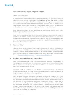 Datenschutzerklärung der Siegfried Gruppe
