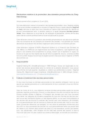 Déclaration relative à la protection des données personnelles