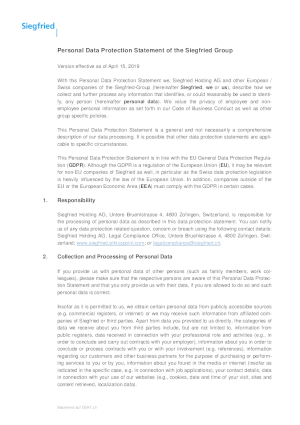 Personal Data Protection Statement of the Siegfried Group